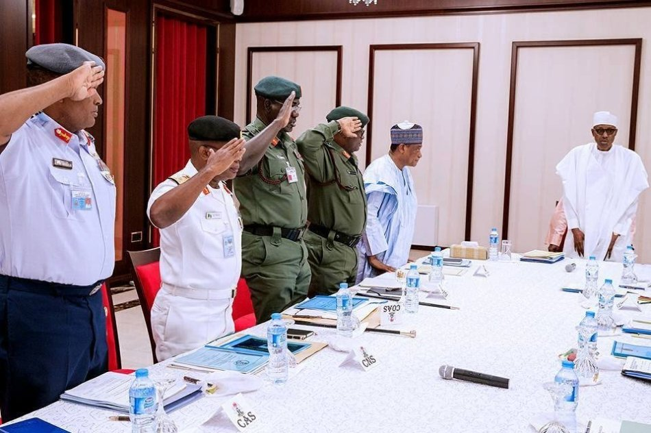 •President Buhari with Service Chiefs